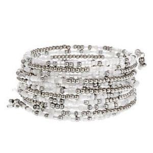 Bracelet Silver Tone White Seed Bead Coil